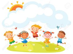 Felices Los Niños De Dibujos Animados Saltando De Alegría En Una Colina Con Un Espacio De Copia, No Degradados, Sin Contorno Ilustraciones Vectoriales, Clip Art Vectorizado Libre De Derechos. Image 36106727.