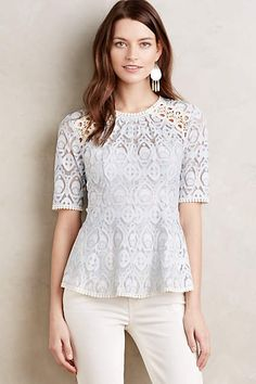 Signa Lace Top - beautiful color, haven't tried peplum, but this looks like a great start. Love the lacy details