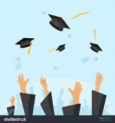 Graduating Students Of Pupil Hands In Gown Throwing Graduation Caps In The Air, Flying Academic Hats, Throw Mortar Boards In The Sky Flat Cartoon Vector Illustration Design Isolated On Blue Background - 400598209 : Shutterstock