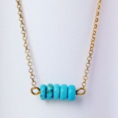 Turquoise necklace with gold plated chain and details. Turquoise Necklace, Pendants, Necklaces, Pendant Necklace, Chain, Silver, Gold, Jewelry, Jewellery Making