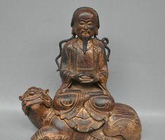 "10"" China Taoism God Emperor Zhenwu Ride Lion Bronze Copper Statue wholesale Bronze Arts outlets"