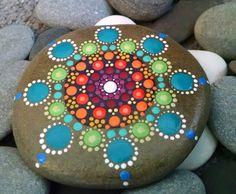 Large Painted Rock ~ Rainbow Dot Art Stone ~ Colorful Mandala ~ Original Home Decor Ornament ~ Painted Stones