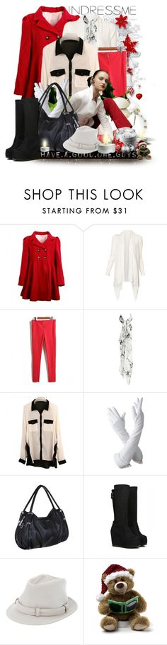 """""""Have A Good One Guys"""" by keti-lady ❤ liked on Polyvore featuring Witchery, Karen Millen, Aspinal of London, Burberry, fedora hats, black and white, gloves, winter, blouses and red"""