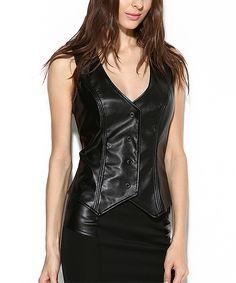 Black Faux Leather V-Neck Vest by Laranor
