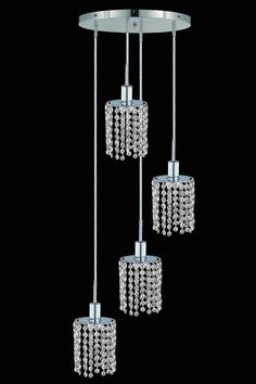 Elegant Lighting - 1284 Mini Collection Hanging Fixture Round Canopy D9.5in H12in-48in. Whether shown individually or as a collection, our Mini chandeliers are stunning in any fashion. This stylish collection offers stunning crystal in a range of colorful options to suit every décor. Specifications:  Style Contemporary   Collection Mini    Chain/Wire Included  4 ft.    Light Blubs  4    Bulb Type  E12    Bulb Wattage  40    Max Wattage  160    Voltage  110V-125V   Finish Chrome    Crystal…