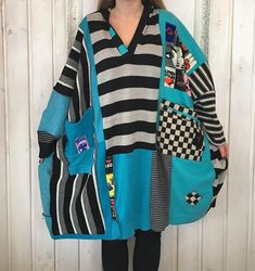 RESERVED for Cleo L to Plus Size Upcycled Wool Poncho Sweater