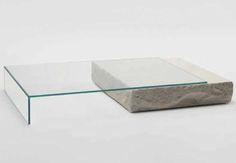 Terraliquida glass and limestone coffee table by Claudio Silvestrin Glas Italia