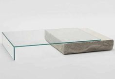 Terraliquida glass and limestone coffee table by Claudio Silvestrin Glas Italia