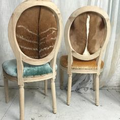 Pair of genuine fur silk velvet jewel toned dining chairs French louis xvi aqua gold eclectic woodland anthropologie style decor upholstered by Skinndd