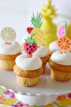 Fruit cupcakes from a Colorful Tutti Frutti Birthday Party Colorful Birthday Cake, Fruit Birthday, 2nd Birthday Party Themes, Birthday Cupcakes, 5th Birthday, Birthday Ideas, Fruit Cupcakes, Cupcakes Frutas, Mocha Cupcakes