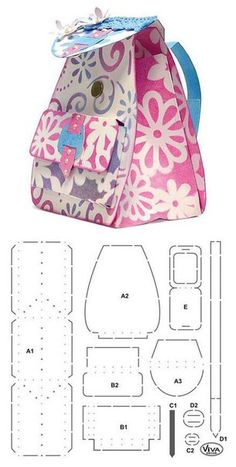 Craft Shop Backpack with its mold to make it yourself Sewing Hacks, Sewing Crafts, Sewing Projects, Paper Purse, Fabric Bags, Craft Shop, Handmade Bags, Gift Bags, Purses And Bags