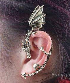Vintage Punk Gothic Rock Dragon Pattern Ear Cuff Clip Stud Earring