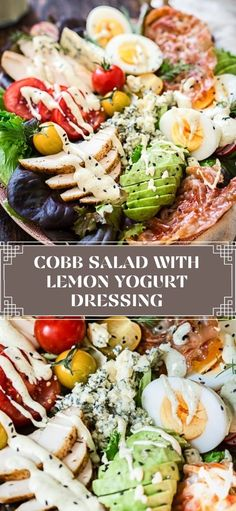 This Summer Fresh Cobb Salad is made with grilled chicken, crispy prosciutto, soft boiled eggs, seasonal vegetables and sharp blue cheese on a bed of salad greens. Add my exciting lemon yogurt dressing and it is a meal in itself. A delicious update on the popular classic!