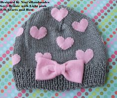 Grey Hat and Pink HEARTS Baby Hat Beanie, girls accessories, Grey hat, pink hearts and bow, hearts, romantic hat, toddler hat