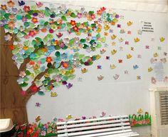 20 Ideas Tree Mural Classroom Ideas For 2019 Class Decoration, School Decorations, Diy For Kids, Crafts For Kids, Handprint Christmas Tree, Classroom Decor Themes, Classroom Ideas, Apple Theme, Kindergarten Crafts