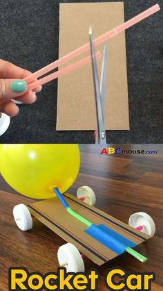 Mar 2020 - Have you heard of Newtons Third Law of Motion? For every action, there is an equal and opposite reaction. To see it play out in real life, try out our Rocket Car experiment! Its perfect for the summer days when its too hot to go outside, b . Science Experiments For Preschoolers, Cool Science Experiments, Craft Activities For Kids, Science For Kids, Science Activities, Preschool Crafts, Toddler Activities, Science Art, Science Notes