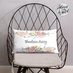 Personalized Name Pillow, Arrow Pillow, Tribal Pillow, Custom Name Cushion, Boho Nursery Throw Pillow, Baby Girl Gift, Baby Shower Gift Girl