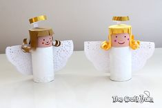 We loveangel crafts here at The Craft Train and have quite a few in the archives already, but there's always room for one more don't you think? This angelis super-simple and you get to upcycle an empty toilet roll in the process (or a paper towel roll cut in half), so that makes it even better! Toilet roll angels are a classic Christmas craft, you may well have made one