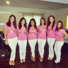 Alpha Xi Delta recruitment outfits.  Pink v-necks, white skinnies, and nude pumps.