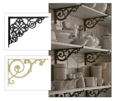 Make French bistro style shelving with cast iron brackets and wood planks.  Find lots of iron brackets at House of Antique Hardware: http://www.houseofantiquehardware.com/cast-iron-shelf-brackets.  Photo re-pinned from http://pinterest.com/pin/219339444321261394/