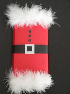 Santa Candy Bar Wrapper by anniesmom - Cards and Paper Crafts at Splitcoaststampers - could be decorated like a Nutcracker too! Christmas Candy Crafts, Christmas Favors, Christmas Projects, Kids Christmas, Holiday Crafts, Christmas Decorations, Candy Bar Gifts, Candy Bar Wrappers, Paper Crafts