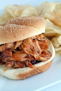 Slow Cooker Honey Barbecue Sandwiches: Very yummy...by far the best slowcooker bbq chicken that I've tried.
