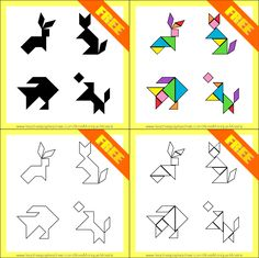 Tangram - The new Classic Collection - Freebie. Puzzle Cards / Math Mats / Pattern Cards / Worksheets. Pets: Cat, Dog, Fish & Rabbit.