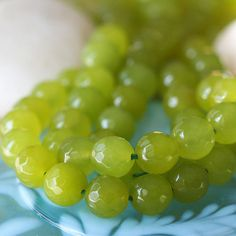 ? 22.5 OR 45 CENTS EACH ~ $4.50 FOR EITHER 10 0R 20 (10mm) ~~ Softly Faceted Dyed Jade - Lime Green (20 beads) ~~ funkyprettybeads