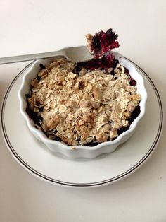 Delicious berry crumble with rasberries and blueberries.