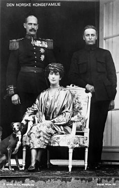 Photo 1921 The Norwegian Royal Family. King Haakon VII, Queen Maud, and Prince Olav. King Haakon was a member of the House of Schleswig-Holstein-Sonderburg-Glucksburg. Maud of Wales was the daughter of the future Edward VII of the United Kingdom and Princess Alexandra of Denmark. Prince Olav (Olav V) was the father of the current King Harald V.
