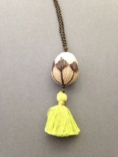 Lotus Flower Carved Bodhi Tree Seed Pendant with Tassel Of Your Choice on Brass Chain to Represent A Spiritual Journey & Enlightenment