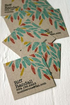 Feather Calling cards on Kraft by MichelleBrusegaard on Etsy