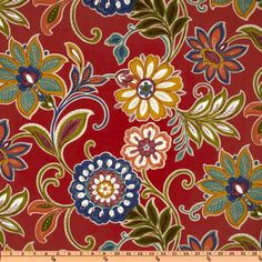 Richloom Solarium Outdoor Alinea Floral Pompeii Red from @fabricdotcom  This outdoor solarium fabric will withstand 500 hours sunlight and has 10,000 double rubs, perfect fabric for porches, patios, deck side, pool side and boat side. *Special Washing Instructions: Always use mild soap with cool to lukewarm water. For deep-cleaning, use a sponge or fine-bristle brush.  Colors include blue, plum, white, olive, peach, gold and teal on a red background.