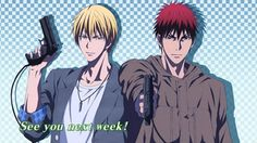 Kuroko no basket see you next week kise and kagami guns so cool sexy Kuroko No Basket, Basket Drawing, Midorima Shintarou, Akashi Seijuro, Kiseki No Sedai, Digital Art Anime, Kagami Taiga, Generation Of Miracles, Gekkan Shoujo Nozaki Kun