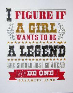 Girl a Legend Calamity Jane vintage inspired by minglewoodstudios