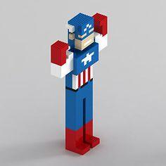 8-bit Lego Captain America. #Avengers