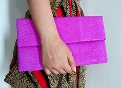 Pink Fuschia Fold Over Python Snakeskin Leather Clutch