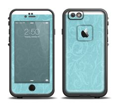 The Subtle Blue Floral Laced Apple iPhone 6/6s Plus LifeProof Fre Case Skin Set from DesignSkinz