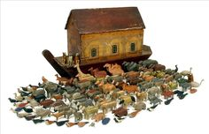 Noah's Ark with 180+ figures.  German, c. 1850's
