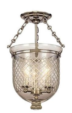 Metropolitan Lighting Fixture Co.   Bell Jar, Semi Flush Mount, Diamond  Etching