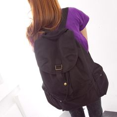 Japan and Korean Style Canvas Casual Backpacks in Black
