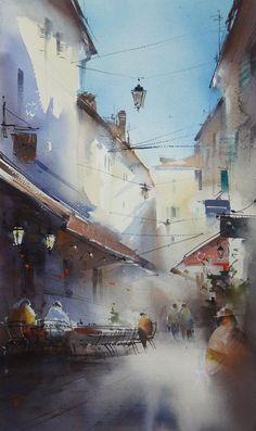 Ilya Ibryaev    - The street in Cannes - (plein air) watercolor 35x53 cm