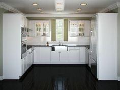 Küchen modern u-form hochglanz  u-form küche Parkett aus Eichenholz und Schrankfronten in Creme ...