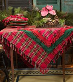 Set a Festive Table with the Tartan Plaid Square Table Cloth by April Cornell (christmas table cloth) Tartan Christmas, Cabin Christmas, After Christmas, Plaid Christmas, Country Christmas, All Things Christmas, Christmas Holidays, Christmas Crafts, Xmas