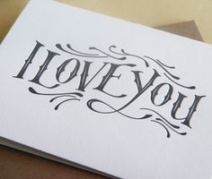 Valentine Card - I love you - Grey I Love you. $4.50, via Etsy.