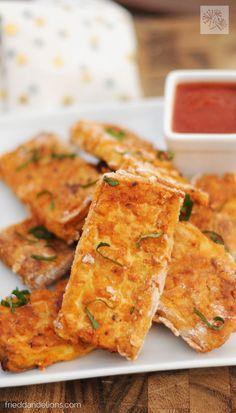 Pizza Tofu- a very interesting, unique way to prepare tofu! Recipe from Fried Dandelions blog.