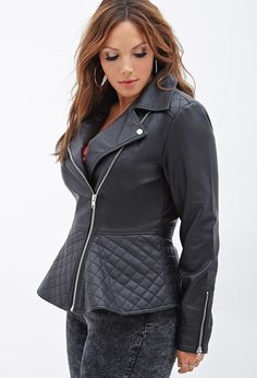 Plus Size FOREVER 21+ Quilted Peplum Moto Jacket