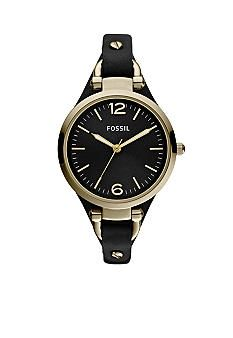 Fossil® Ladies Georgia Black Leather with Silver Tone Dial Watch