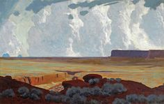 James Guilford Swinnerton, Desert Clouds, Utah, 1940s, oil on canvas, 22 x 34 in. Credit: Painters of Utah's Canyons and Deserts