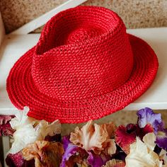 """""""Fedora raffia hat"""" Raffia Hat, Classic Hats, Wearing A Hat, Fedora Hat, Hat Making, Yarn Colors, Hat Sizes, Sun Hats, New Product"""